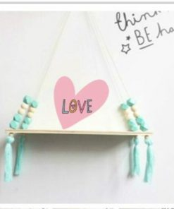 Houten plank met kralen - Wandplank - Slaapkamer decoratie