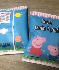 Traktatie chips zakje - Beppa pig - trakteren op school - gepersonaliseerde chipszakjes - Traktatie zakjes - Trakteren - Gepersonaliseerd