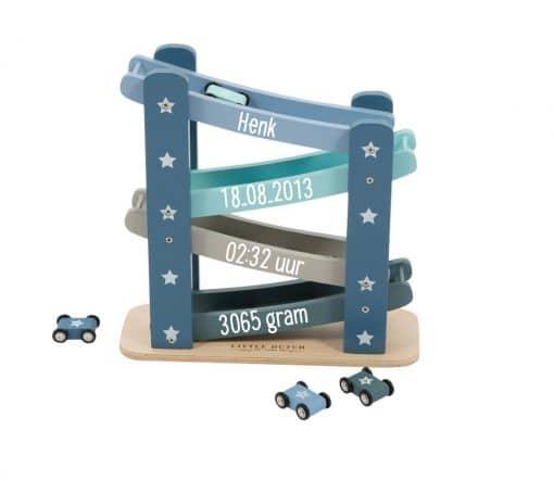 Little Dutch - Autobaan Adventure - Gepersonaliseerd - Kraam cadeau - Geboorte cadeau - Naam cadeau - Little dutch gepersonaliseerd