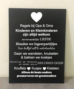 Tekstbord - Regels bij opa en oma - woon decoratie - wand bord - Bij opa en oma - moederdag cadeau - gepersonaliseerd tekstbord