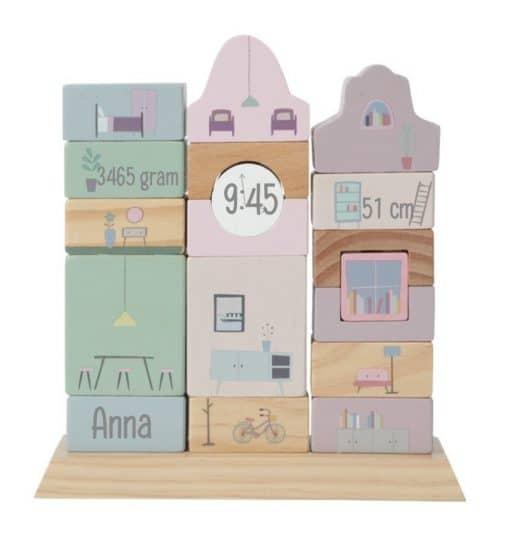 Stapelgeveltje - speelgoed gepersonaliseerd met naam - little dutch trein roze - gepersonaliseerd - Gepersonaliseerd cadeau - Kraam cadeau - Naam cadeau - Geboorte cadeau