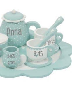 Little Dutch - theeservies - Mint - Roze - met naam - Kraam cadeau - geboorte cadeau - gepersonaliseerd speelgoed