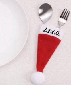 Bestek kerst muts hoes gepersonaliseerd - Diner naamkaart - Dineren in stijl - kerst diner in stijl - Naamkaartjes diner - Bella Kids
