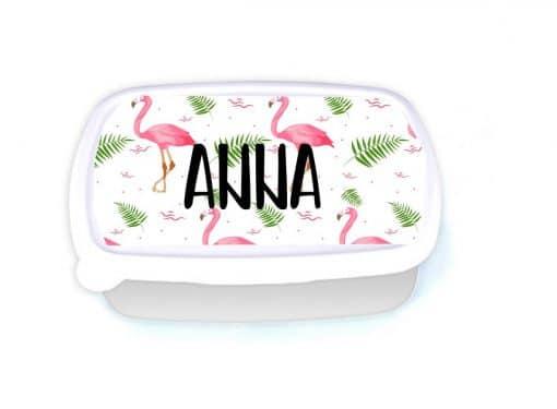 Broodtrommel - gepersonaliseerd met naam- Flamingo - School- School - lunchen op school - Brood trommel gepersonaliseerd - continurooster - Bella Kids