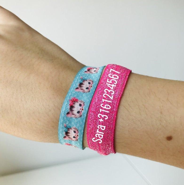 Wonderlijk Sos armband| Armband elastiek met telefoonnummer LG-45