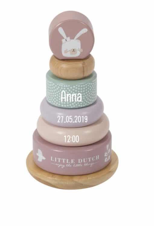 Little dutch stapel toren met naam - Little Dutch garage met naam - Kraam cadeau - Naam cadeau - Houten speelgoed met naam - Geboorte cadeau - Gepersonaliseerd cadeau