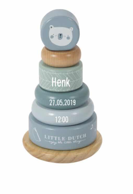 Little dutch - Tuimelstapelaar - Adventure - Met naam - Leuke stapel toren met naam van Little Dutch - Kraam cadeau - Naam cadeau