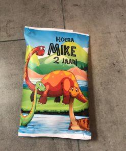 Traktatie zakje - Dinosaurus - Chipszakje,Trakteren op school - Traktatie chipszakje - Chipzakje gepersonaliseerd - Traktatie