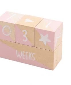 Milestone blokken - Jollein Mooie houten mijlpaalblokken van Jollein. De blokken zijn verkrijgbaar is roze en grijs en hebben een afmeting van 18x12 cm (grote blok) 3x6 cm (kleine blokken. De set bestaat uit 1 groot blok en twee kleinere blokken. Gemaakt van plywood