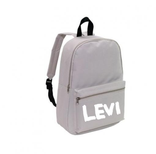 School rug tas - Grijs - Gepersonaliseerd School rug tas - Grijs - Gepersonaliseerd .gepersonaliseerde tas, schooltas met naam, tas met naam, rugtas met naam, gymtas met naam