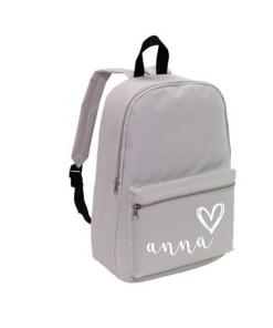 School rug tas - Grijs - Gepersonaliseerd School rug tas - Grijs - Gepersonaliseerd . gepersonaliseerde tas, schooltas met naam, tas met naam, rugtas met naam, gymtas met naam