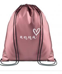 KINDERGYMTAS |Metallice Roze | Gepersonaliseerd met naam,gepersonaliseerde tas, schooltas met naam, tas met naam, rugtas met naam, gymtas met naam