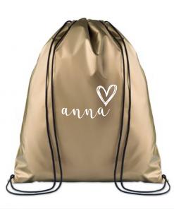 KINDERGYMTAS | Metallic Gold|Gepersonaliseerd, gepersonaliseerde tas, schooltas met naam, tas met naam, rugtas met naam, gymtas met naam