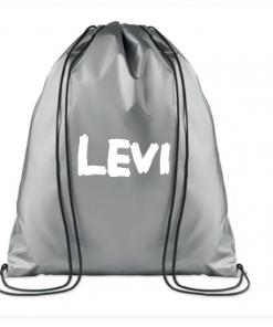 KINDERGYMTAS |Silver Metallic|Gepersonaliseerd met naam,gepersonaliseerde tas, schooltas met naam, tas met naam, rugtas met naam, gymtas met naam