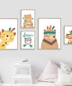 Canvas posters Bos dieren- slaapkamer decoratie