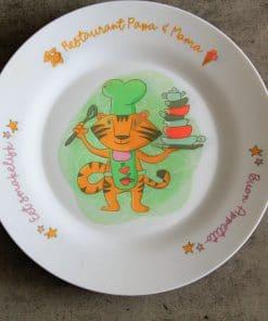 Kinderbord - Restaurant papa en mama,Kinderservies, Serviesgoed, Cadeau papa en mama , Moederdag cadeau , Vaderdag cadeau