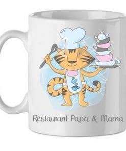 Kinderbeker - Restaurant Papa & Mama,, kinderbeker, Beker met naam , kinderservies, Beker kind, Kinderservies gepersonaliseerd, gepersonaliseerde cadeaus