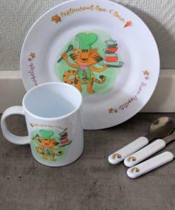 Kinderbord - Restaurant opa en oma,Kinderservies, Serviesgoed, Cadeau papa en mama , Moederdag cadeau , Vaderdag cadeau