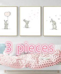 Canvas posters Konijn - kinderkamer decoratie 3 stuks, kinderkamer decoratie , Baby kamer accessoires, Baby kamer canvas, Foto lijsten baby kamer