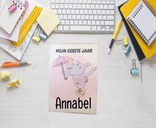 Mijn eerste jaar - Invulboek - Meisje - Neushoorn,, Baby's eerste jaar invulboek, Mijn eerste jaar , invulboeken