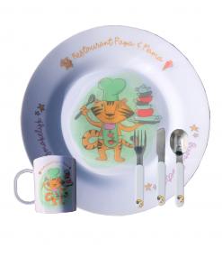 Servies set - Giftset- Restaurant Papa & Mama,Vaderdag cadeau - Moederdag cadeau - Kinderservies - Cadeau opa en oma
