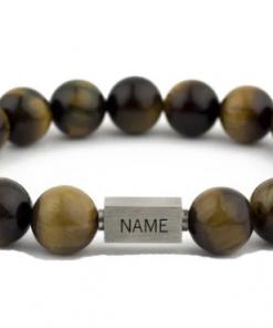 Armband | Tiger Eye Qube | Gepersonaliseerd| Armband voor hem Armabnd voor hem - Mannen sieraden - Mannen armband - Gepersonaliseerd armband