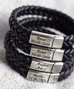 Armband | Chase Black | Gepersonaliseerd| voor hem} Armabnd voor hem - Mannen sieraden - Mannen armband - Gepersonaliseerd armband