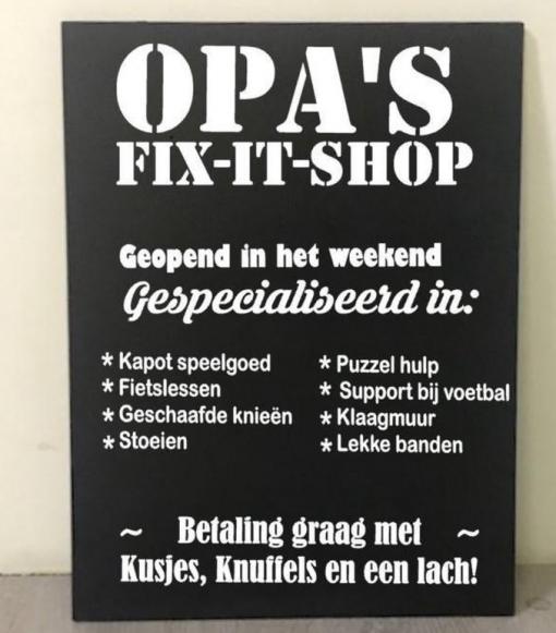 Tekstbord - Opa Fix it shop - Woon decoratie - Cadeau voor opa - Opa cadeau - Vaderdag cadeau - Gepersonaliseerd tekstbord