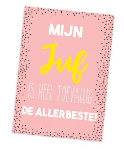 Juf ansichtkaart - Roze - Einde schooljaar cadeau - Juffen bedankje - Trakteren op school - Einde school cadeau - Juffen dag cadeau