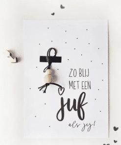 Zo blij met een juf als jij || Ansichtkaart + gelukspoppetje - Einde schooljaar cadeau - Juffen bedankje - Trakteren op school