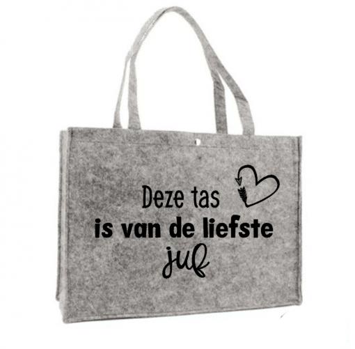 Vilten tas - de liefste juf - shopper zwart - einde school jaar cadeau - cadeau voor juffen en meesters - Boodschappen tas gepersonaliseerd