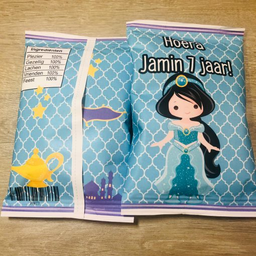 Jasmine- Traktatie zakje - Chips zakje - Prinsessen - Gepersonaliseerde schooltraktaties - Traktatie met naam - Lego traktatie - Trakteren op school