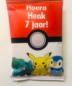 Pokemon - Traktatie zakje - Chips zakje - Gepersonaliseerde schooltraktaties - Traktatie met naam - Lego traktatie - Trakteren op school