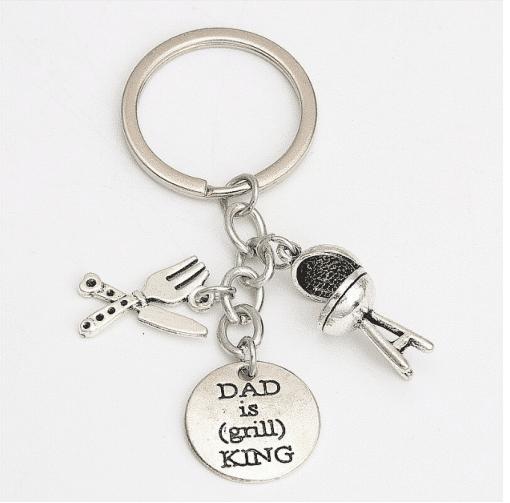 Sleutelhanger - dad is grill king - vaderdag cadeau - voor papa - orgineel cadeau - Hanger sleutel - Bella Kids - Super papa - Vader