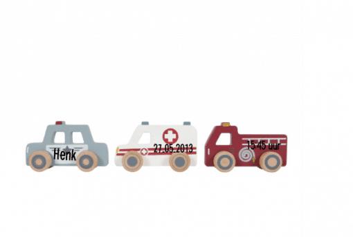 Little Dutch Hulpverleningsauto-set met naam - gepersonaliseerd - Kraam cadeau - Geboorte cadeau - Naam cadeau - Little dutch gepersonaliseerd