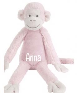 Pink Monkey Mickey - Met naam - Happy Horse - Gepersonaliseerd kraamcadeau - Geboorte cadeau met naam - Naam cadeau - Gepersonaliseerd