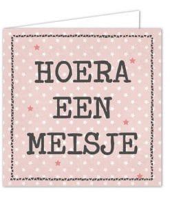 Ansichtkaarten Hoera een meisje - Ansichkaart - Geboorte - Kraam cadeau - Gepersonaliseerd cadeau - Naam cadeau