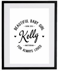 Naamposter - Retro - naamposter, geboorte poster, geboorteposter baby, geboorteposter maken, naamposter baby,