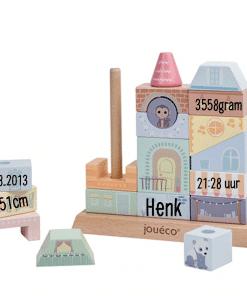 Jouecó - Stapelgeveltje - speelgoed gepersonaliseerd met naam - kraam cadeau - geboorte cadeau - naam cadeau - Verjaardag cadeau - Bella Kids