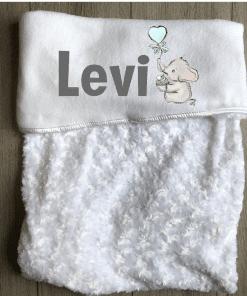 Babydeken met naam - Olifant cupcake blauw - Gepersonaliseerd - Kinderkamer accessoires - Bed textiel - Beddengoed kinderkamer - Zacht dekentje met naam - Kraam cadeau