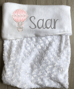 Babydeken met naam - Olifant ballon roze - Gepersonaliseerd - Kinderkamer accessoires - Bed textiel - Beddengoed kinderkamer - Zacht dekentje met naam - Kraam cadeau