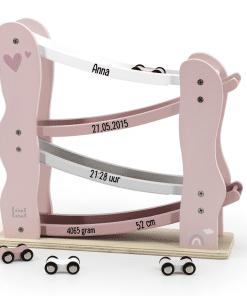 Label Label pink Houten Autobaan met naam - Gepersonaliseerd cadeau - Naam cadeau - Kraam cadeau - Geboorte cadeau,label Label, Bella Kids, Gepersonaliseerde cadeaus, Kraam cadeau, Naam cadeau, Naam kado,Geboorte cadeau, Houten speelgoed