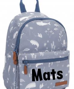 Little Dutch - Kinderrugtas Ocean blue - Met naam - School tas met naam - Gepersonaliseerde Schooltas - Kinderschool tas - Tas voor kinderen