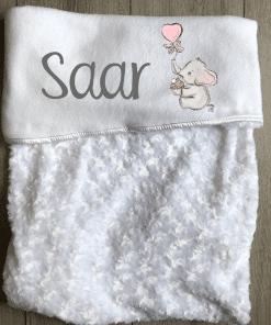 Babydeken met naam - Olifant cupcake roze - Gepersonaliseerd - Kinderkamer accessoires - Bed textiel - Beddengoed kinderkamer - Zacht dekentje met naam - Kraam cadeau