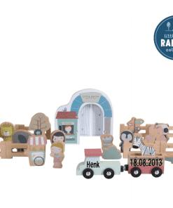 Little Dutch - spoorwegtrein - Zoo - Gepersonaliseerd - Speelgoed - Houten speelgoed gepersonaliseerd - Kraam cadeau