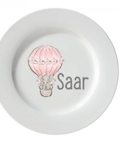 Kinderservies set - Giftset- Olifant luchtballon roze - Kinderservies met naam - Geboorte cadeau - Gepersonaliseerde cadeaus - Naam cadeau