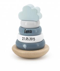Label Label green Houten Tuimelring Piramide met naam - Gepersonaliseerd cadeau - Naam cadeau - Kraam cadeau - Geboorte cadeau - Gepersonaliseerd speelgoed