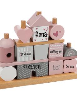 Label Label - Stapelblokken Huisje Roze - Gepersonaliseerd - Gepersonaliseerd cadeau - Naam cadeau - Kraam cadeau - Geboorte cadeau - Gepersonaliseerd speelgoed