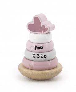 Label Label roze Houten Tuimelring Piramide met naam - Gepersonaliseerd cadeau - Naam cadeau - Kraam cadeau - Geboorte cadeau - Gepersonaliseerd speelgoed