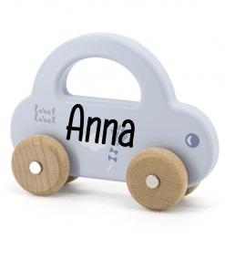 Label Label - Kleine Auto blauw - met naam - Gepersonaliseerd cadeau - Naam cadeau - Kraam cadeau - Geboorte cadeau - Gepersonaliseerd speelgoed